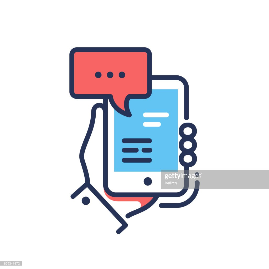 Online Chat - modern vector line design single icon