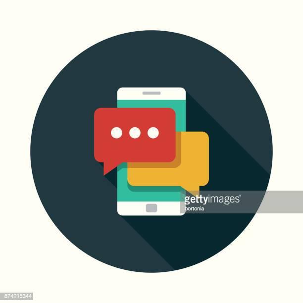 ilustrações, clipart, desenhos animados e ícones de bate-papo on-line ícone de design plano de mídia social com sombra do lado - ícone de redes sociais