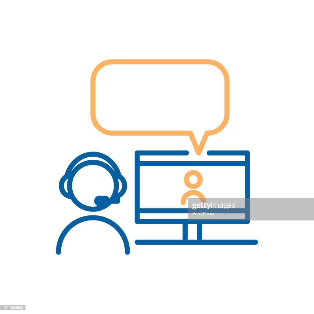 Online chatting with video call. Vector thin line icon design. Graphic concept for online chatting, webinars and other videoconference purposes.