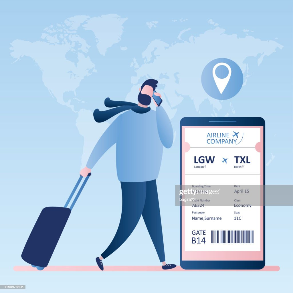 online check-in,Airline boarding pass ticket with barcode code on mobile phone screen,