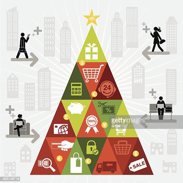 online christmas shopping tree - christmas cash stock illustrations