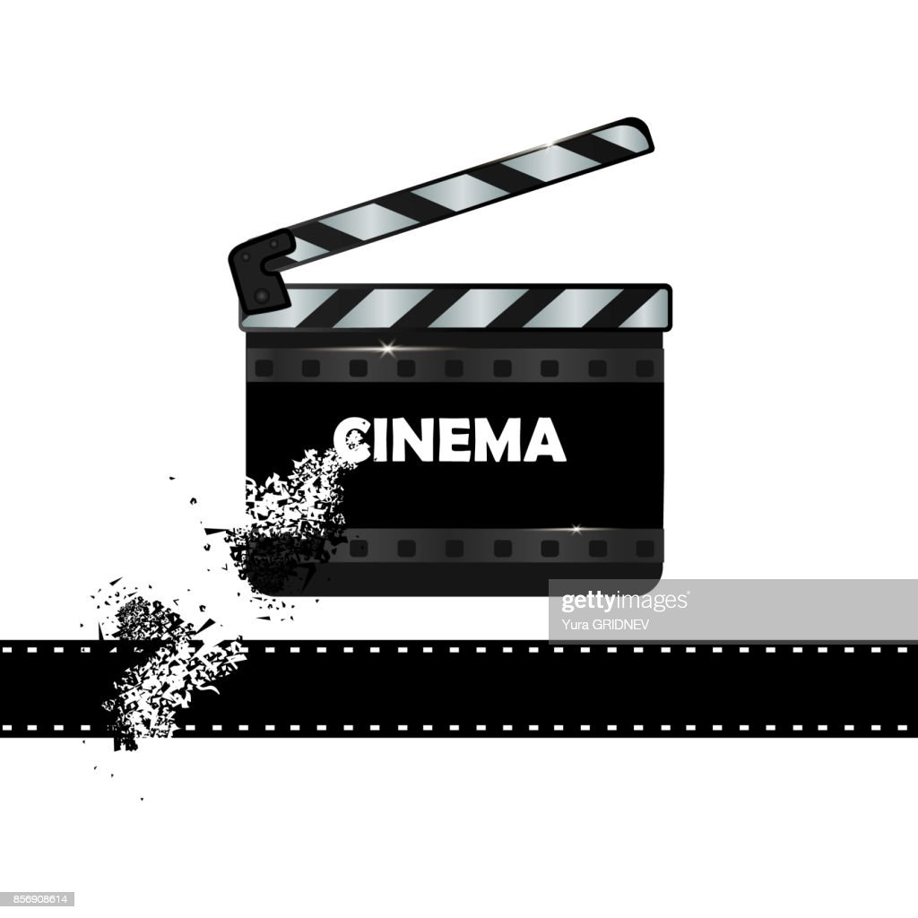 online cinema background with movie reel and clapper board vector, Powerpoint templates