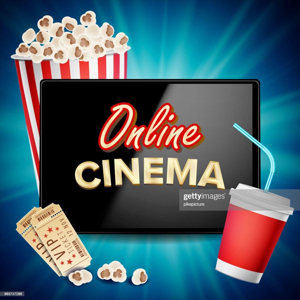 Online Cinema Banner Vector. Realistic Tablet. Popcorn, Drink, Clapping Board. Billboard, Marketing Luxury Illustration