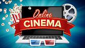 Online Cinema Poster Vector. Modern Laptop Concept. Home Online Cinema. Package Full Of Jumping Popcorn. Luxury Banner, Poster Illustration