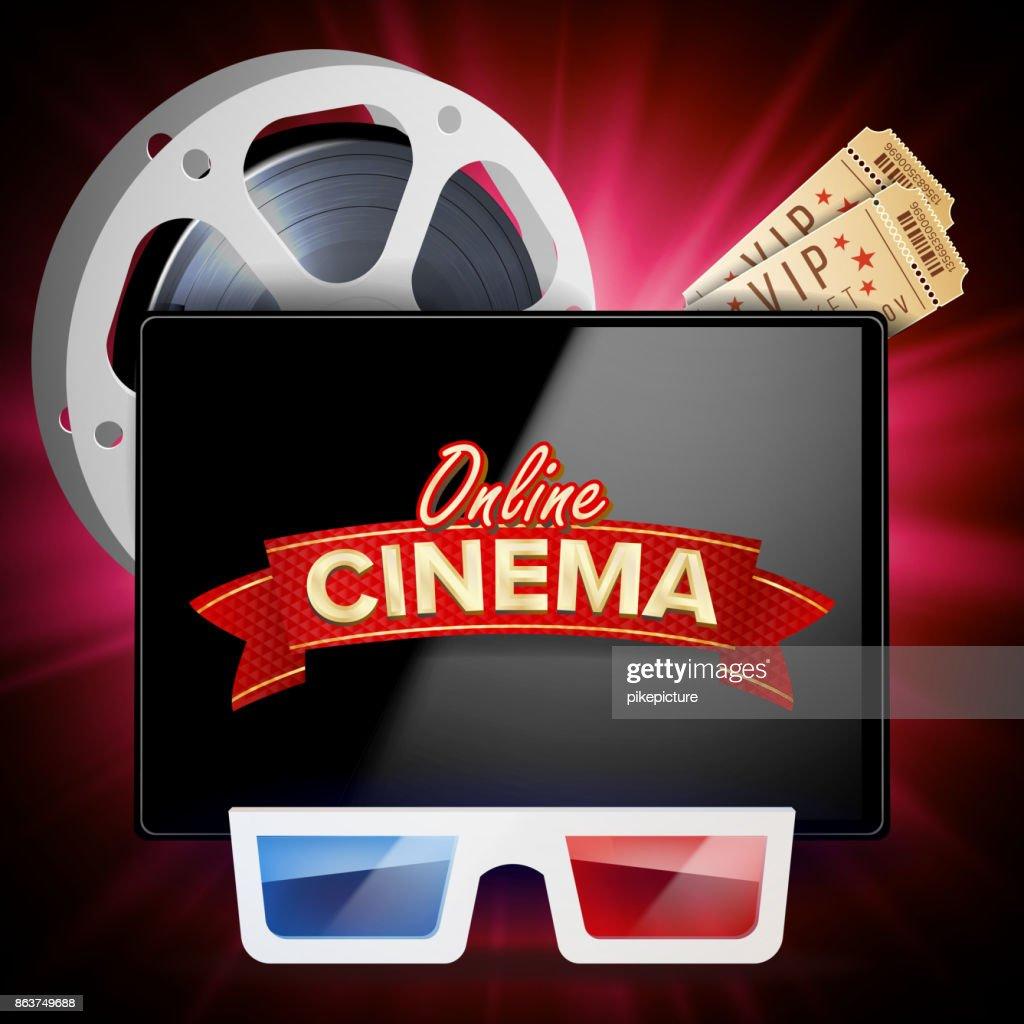 Online Cinema Poster Vector. Modern Mobile Tablet Concept. Realistic Cinematography Theme Design. Advertising Concept Illustration