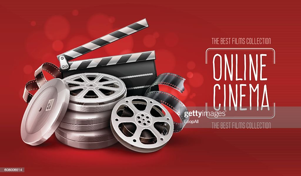 Online cinema with film tape disks in boxes and directors