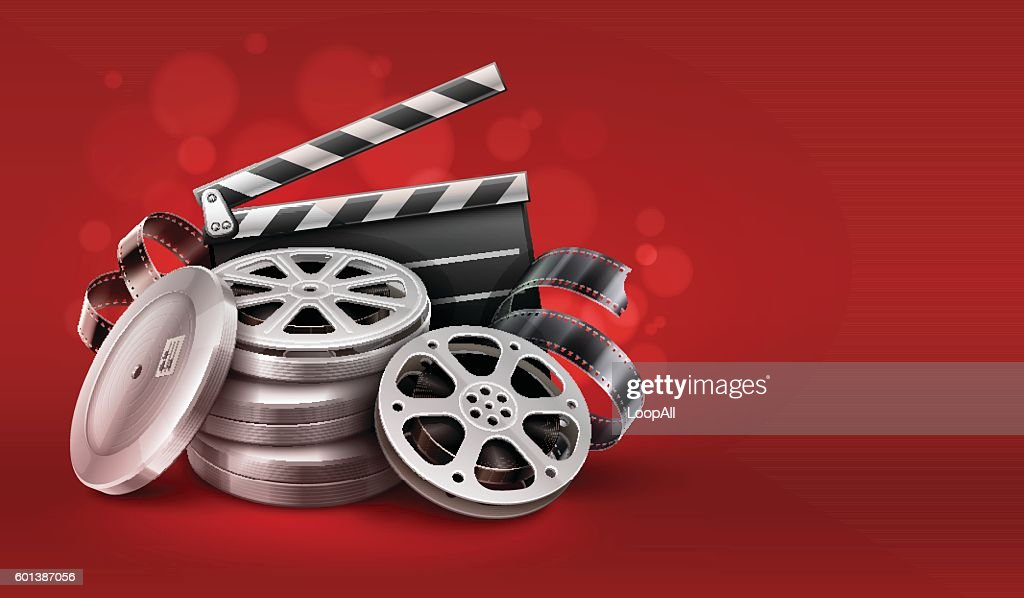 Online cinema with movie tape disks in boxes and directors