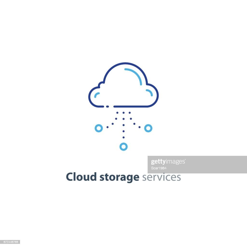 Online cloud storage, data aggregation concept line icon