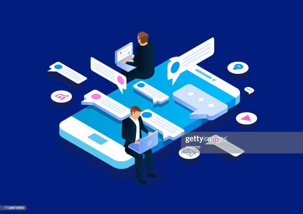 Online communication, isometric business network communication and analysis : Illustrazione stock