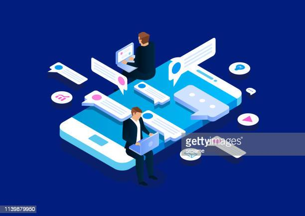 online communication, isometric business network communication and analysis - partnership teamwork stock illustrations