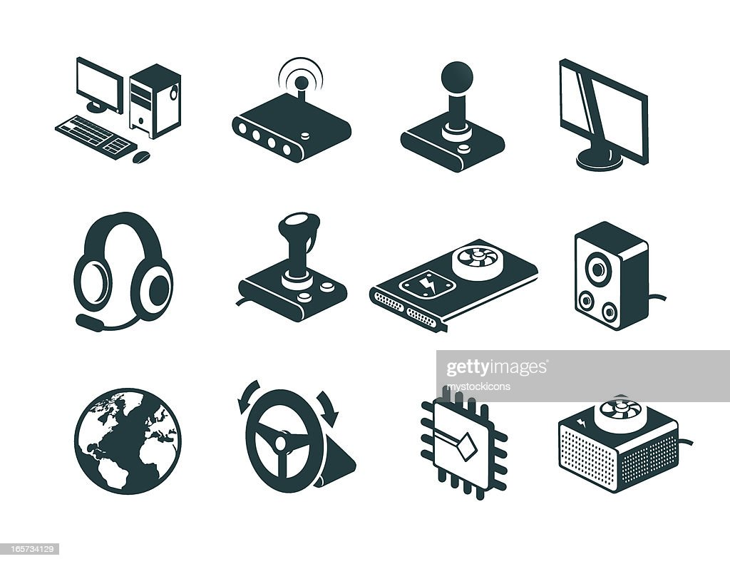 Online Computer Gaming Icons : stock illustration