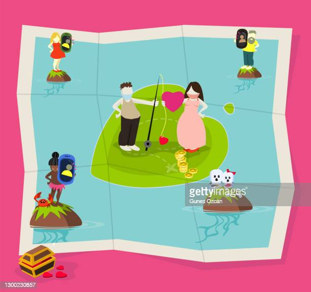 online dating - love on floating island - istock images stock illustrations