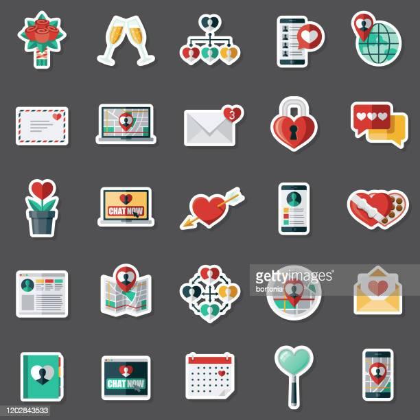 online dating sticker set - love letter stock illustrations