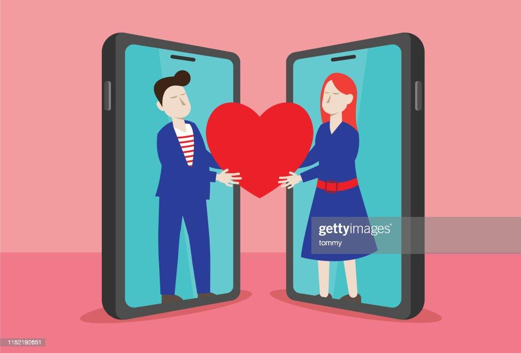 Online dating : stock illustration