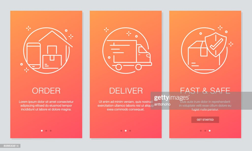 Online Delivery Concept Onboarding App Screens Modern And Simplified ...
