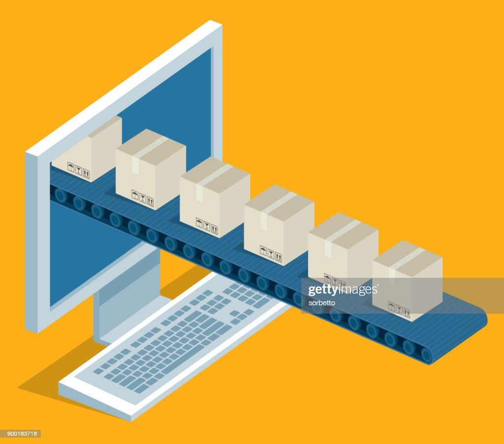 Online delivery - desktop : stock illustration