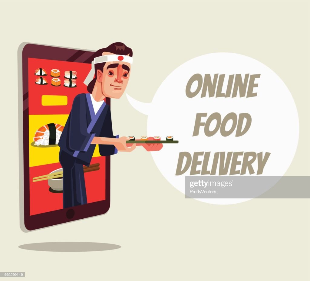Online delivery food isolated. Chef character looking out of smartphone and holding sushi food