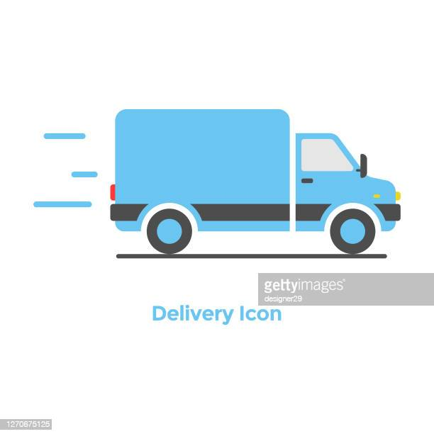 online delivery icon flat design. - truck stock illustrations