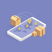 Online delivery tracking concept isometric icon. Vector illustration. Smart post