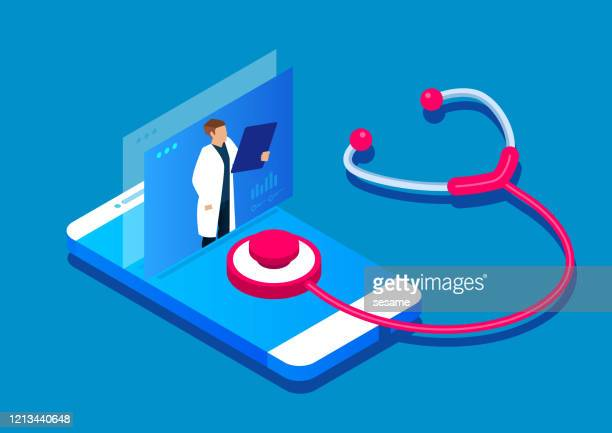 online diagnosis, online medical services - stethoscope stock illustrations