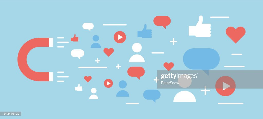 Online digital media magnet and influencer. Vector background illustration concept for popularity, likes, comments, followers.