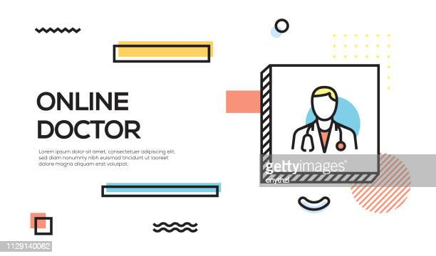 online doctor concept. geometric retro style banner and poster concept with online doctor icon - youth culture stock illustrations