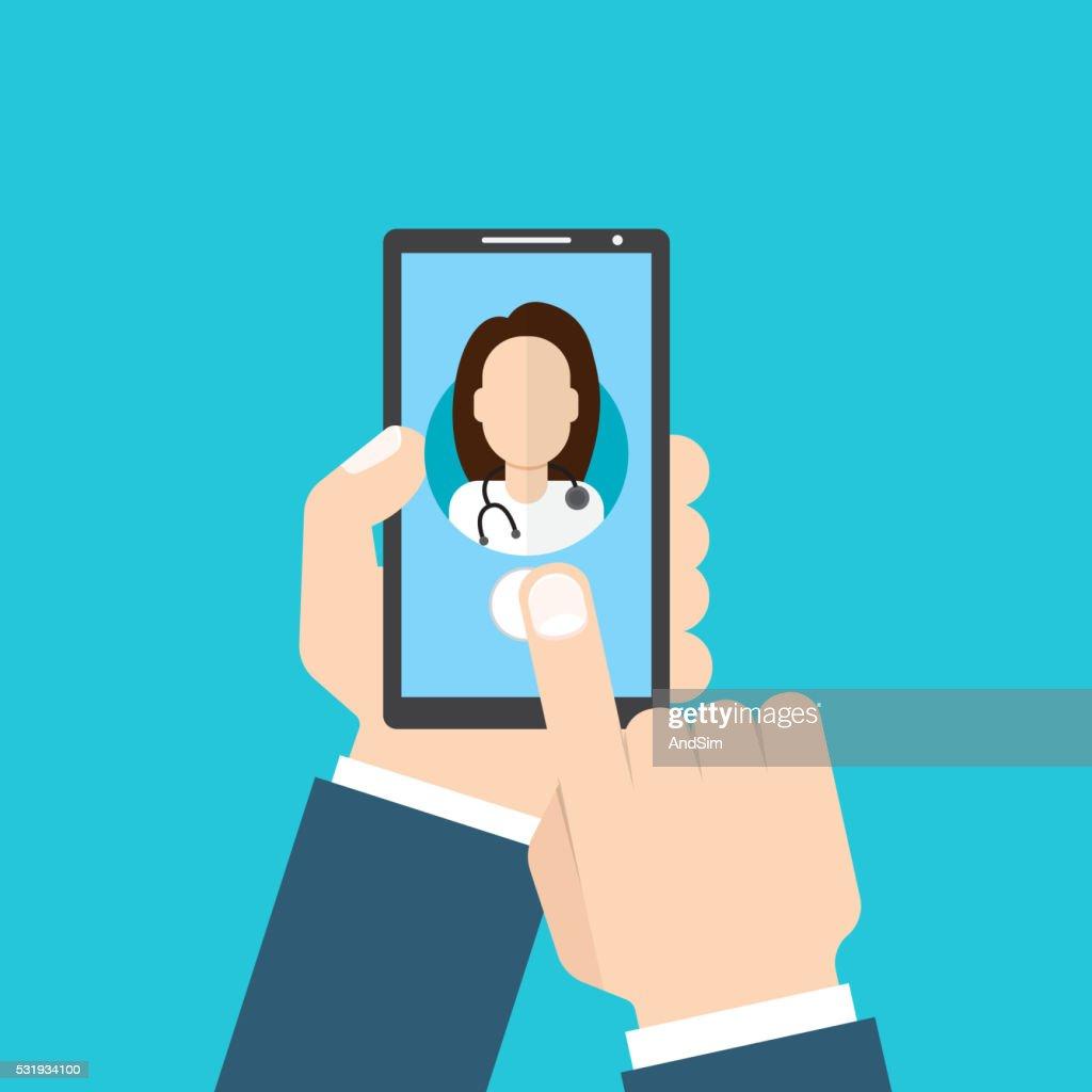 Online Doctor female. Man holding smartphone
