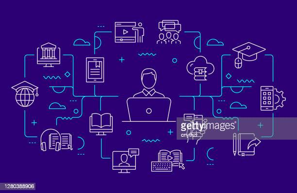 online education and e-learning related web banner line style. modern linear design vector illustration - multimedia stock illustrations