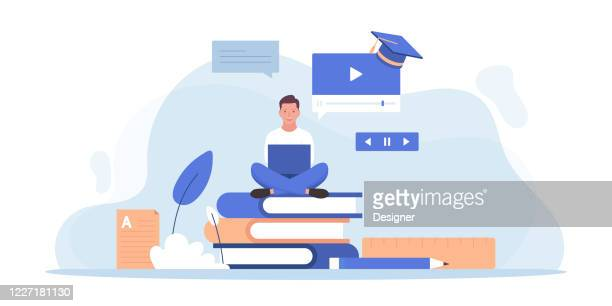 online education and home schooling related vector flat illustration design - tutorial stock illustrations