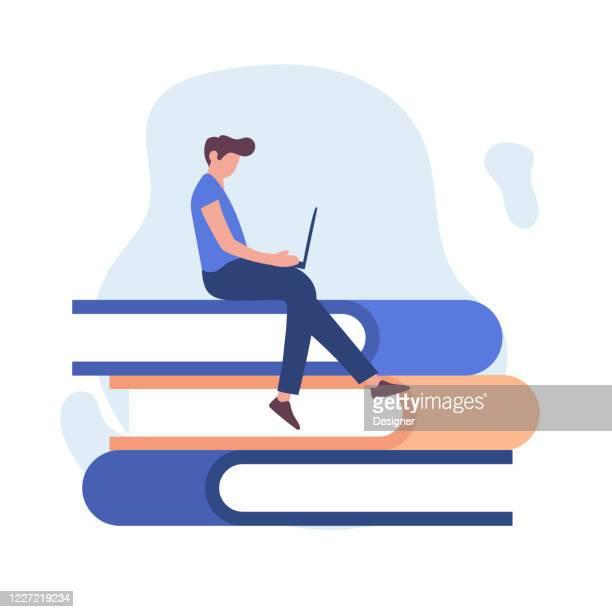 ilustraciones, imágenes clip art, dibujos animados e iconos de stock de educación en línea y educación en el hogar relacionado con el diseño de ilustración plana vectorial - aprender