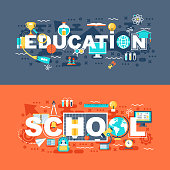 Online education and school set of flat concept