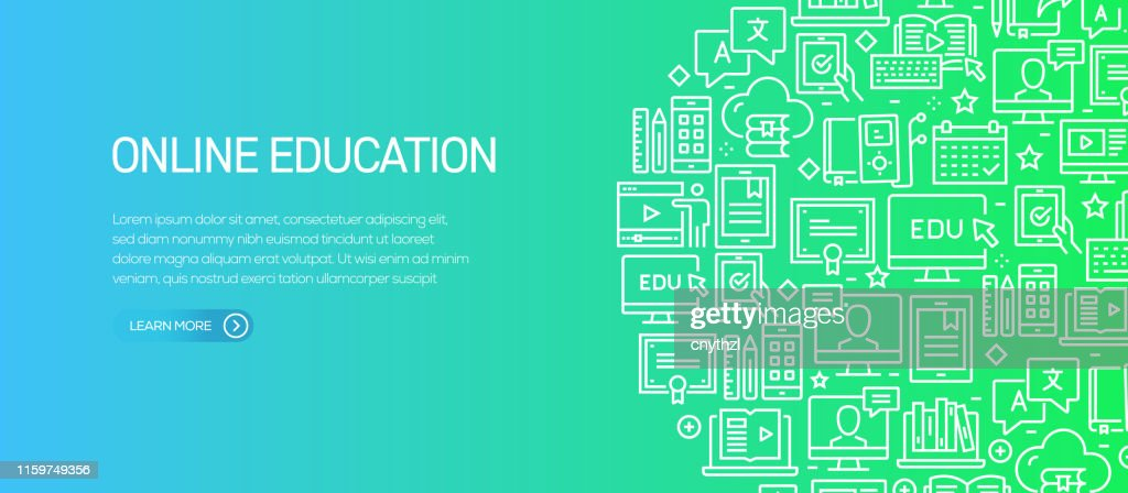 Online Education Banner Template With Line Icons Modern Vector Illustration For Advertisement Header Website High Res Vector Graphic Getty Images