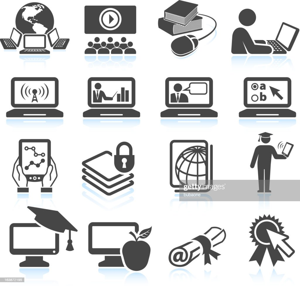 Online education black & white royalty free vector icon set : stock illustration