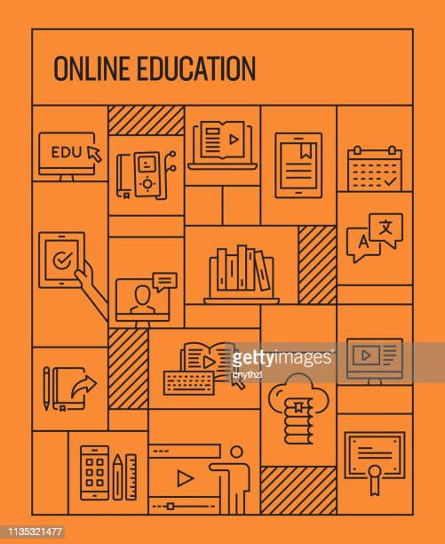 online education concept. geometric retro style banner and poster concept with online education line icons - youtube stock illustrations