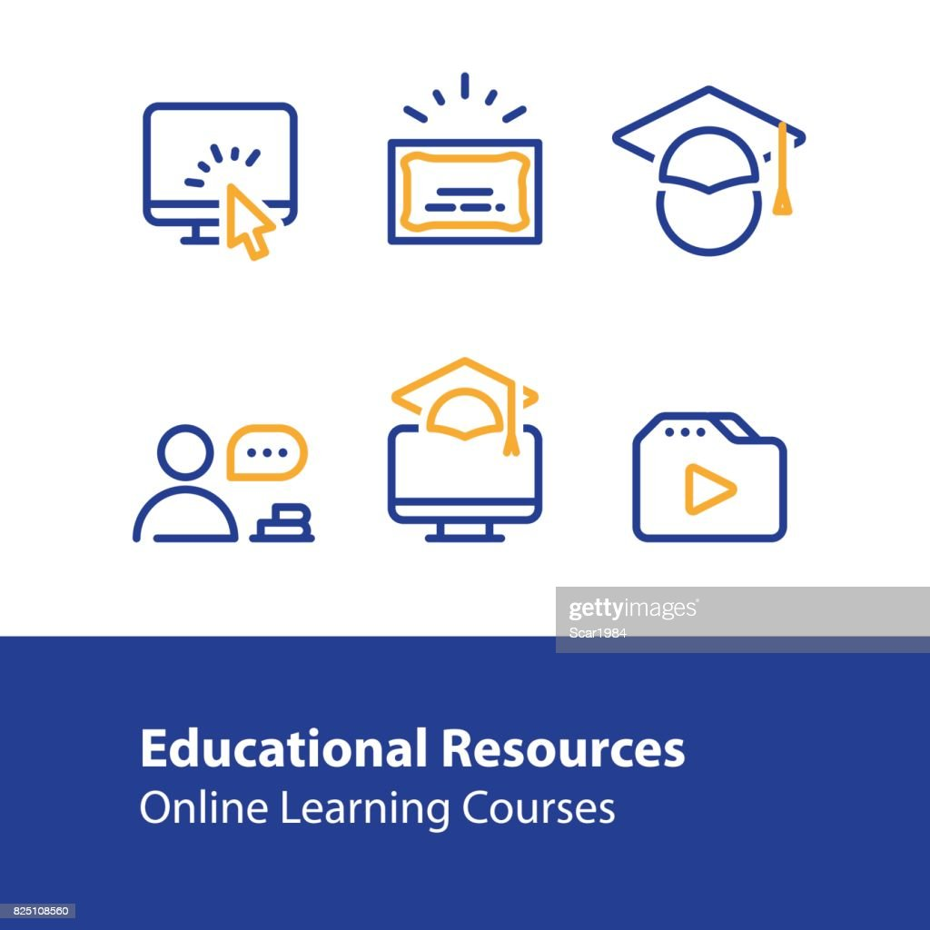 Online education concept line icons, internet learning courses, distant studying