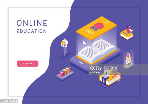 online education concept - library stock illustrations