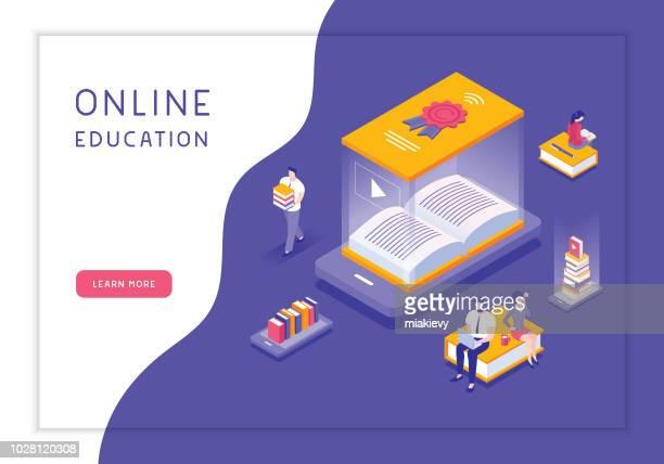 ilustrações, clipart, desenhos animados e ícones de conceito de educação on-line  - biblioteca