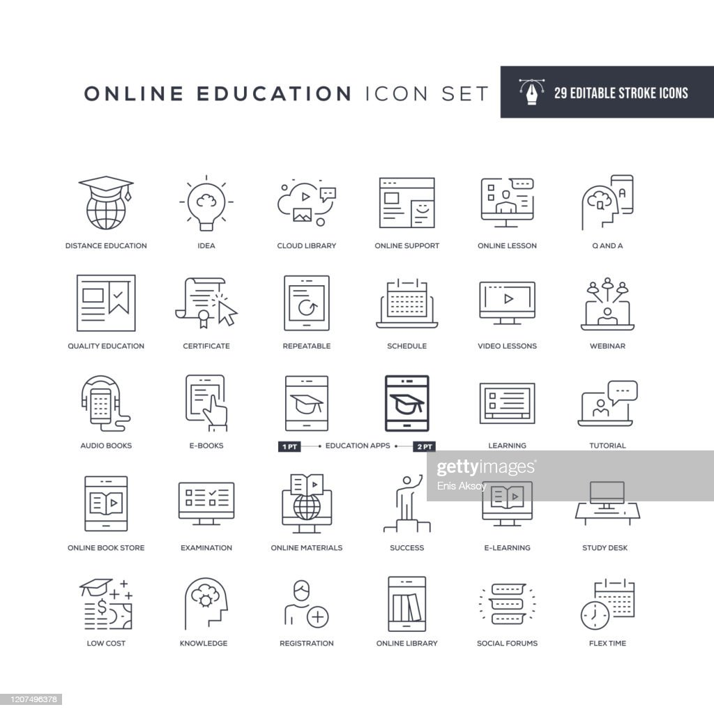 Online Education Editable Stroke Line Icons : Stock Illustration