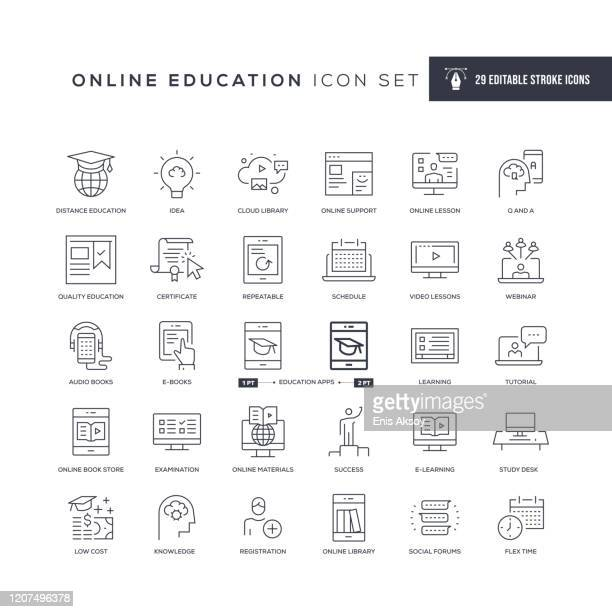 online education editable stroke line icons - web conference stock illustrations