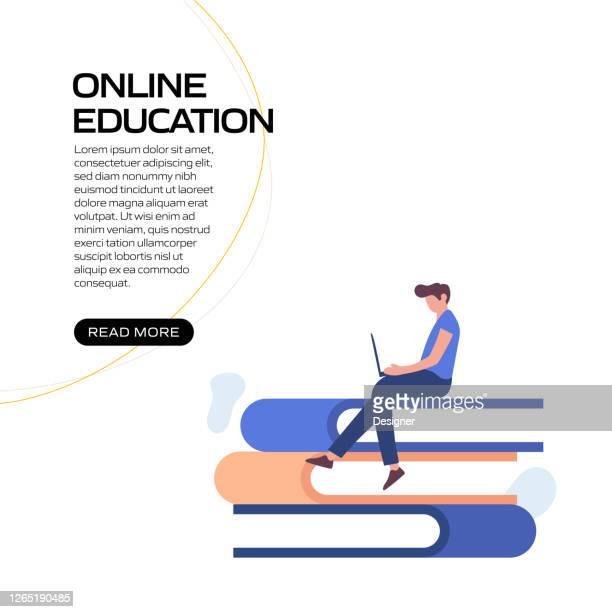 illustrazioni stock, clip art, cartoni animati e icone di tendenza di formazione online, e-learning, illustrazione vettoriale del concetto di istruzione a distanza per banner del sito web, materiale pubblicitario e di marketing, pubblicità online, presentazione aziendale, ecc. - evento relativo all'istruzione