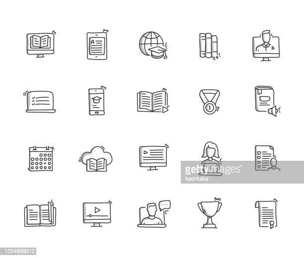 オンライン教育手描き線アイコンセット - 電子書籍点のイラスト素材/クリップアート素材/マンガ素材/アイコン素材