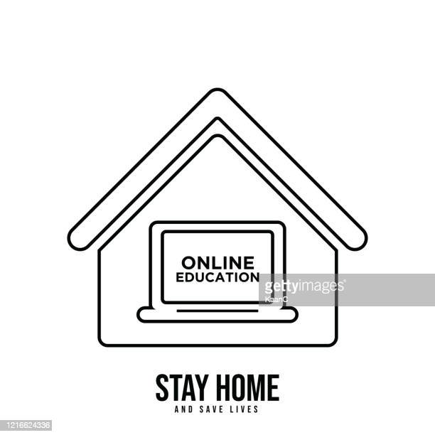 online education icon, online learning at home vector. wuhan coronavirus outbreak influenza as dangerous flu strain cases as a pandemic concept banner flat style illustration, covid-19 stock illustration stock illustration - wuhan stock illustrations