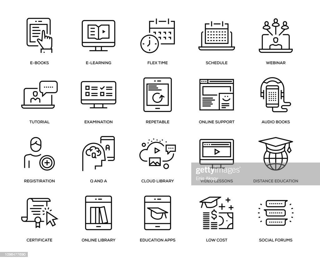Online-Bildung-Icon-Set : Stock-Illustration