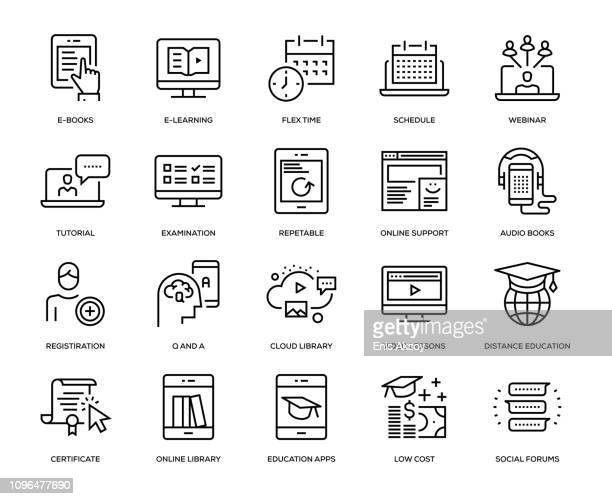 online education icon set - the internet stock illustrations, clip art, cartoons, & icons