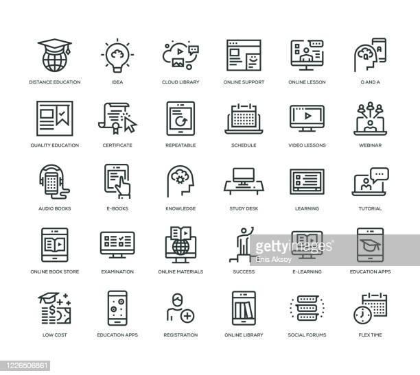 online-bildungs-icon-set - erschwinglich stock-grafiken, -clipart, -cartoons und -symbole