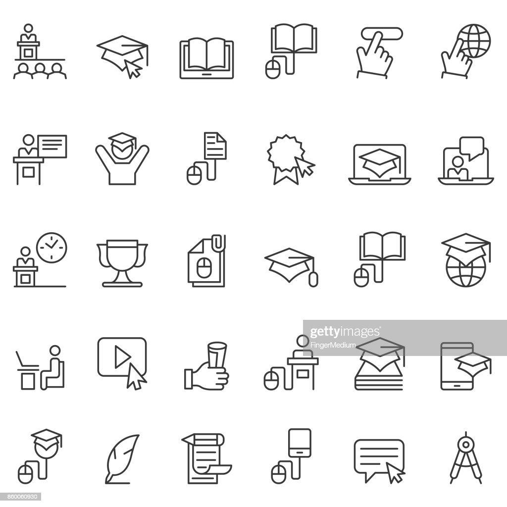 Online education icon set : stock illustration