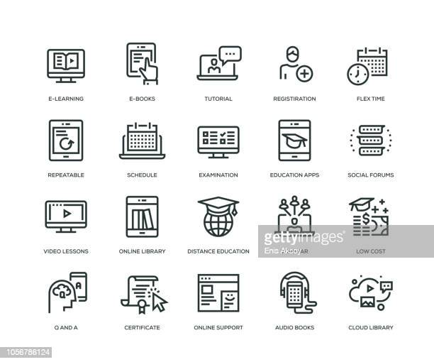 Online Education Icons - Line Series