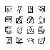 Online education icons set. Online tutorials, e-learning concepts. Pixel perfect. Linear, outline symbols. Thin line design. Vector line icons set