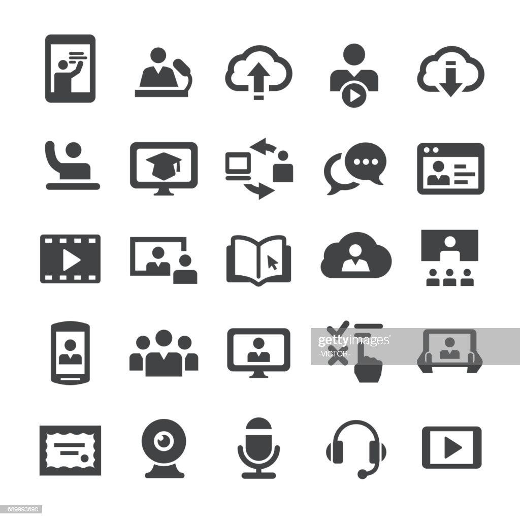 オンライン教育のアイコン - スマート シリーズ : ストックイラストレーション