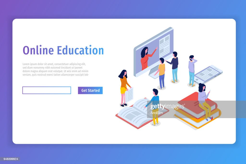 Online education isometric concept,  training courses. 3d isometric people. Vector illustration.
